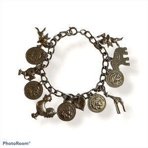 Lovely vintage animal charm bracelet w/cherubs